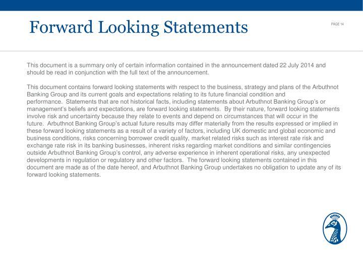 Forward Looking Statements
