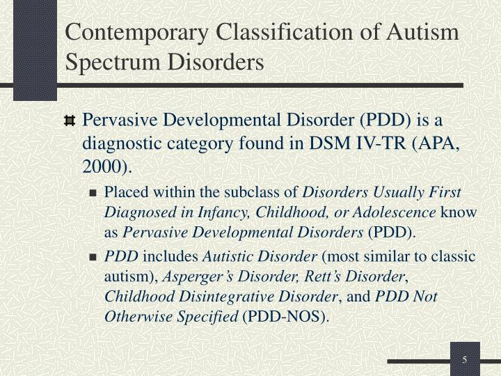 Contemporary Classification of Autism Spectrum Disorders