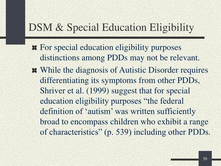 DSM & Special Education Eligibility