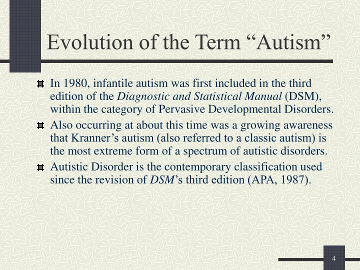 """Evolution of the Term """"Autism"""""""