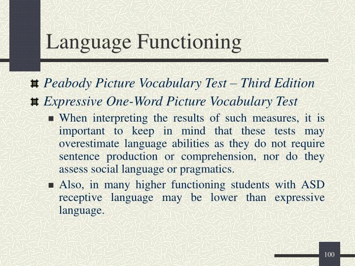 Language Functioning