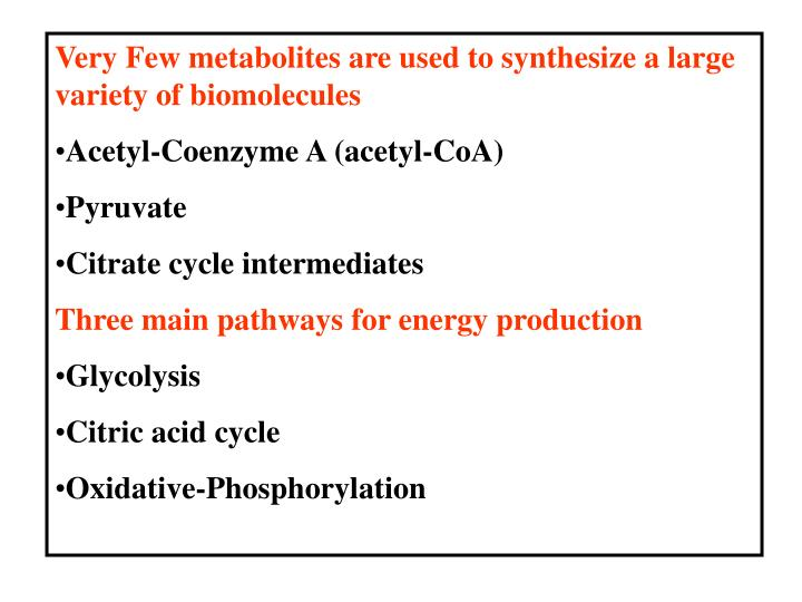 Very Few metabolites are used to synthesize a large variety of biomolecules