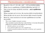 thermodynamic considerations