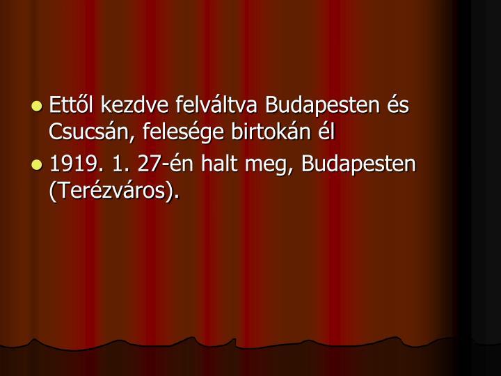 Ettől kezdve felváltva Budapesten és