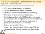 oif 2009 worldwide demonstration features high level technical objectives