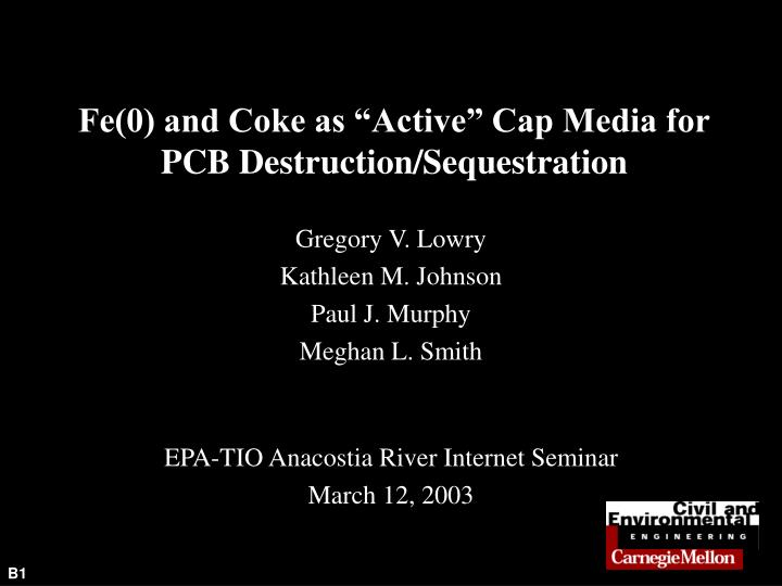 Fe 0 and coke as active cap media for pcb destruction sequestration