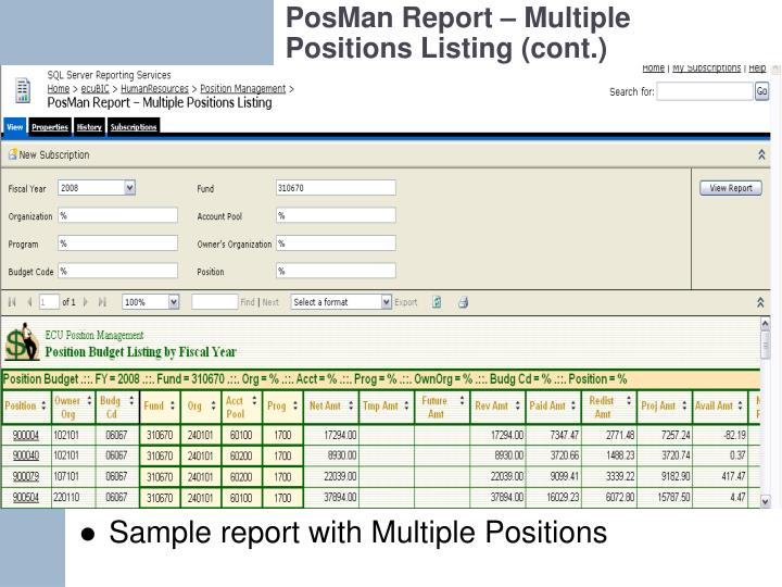 PosMan Report – Multiple Positions Listing (cont.)