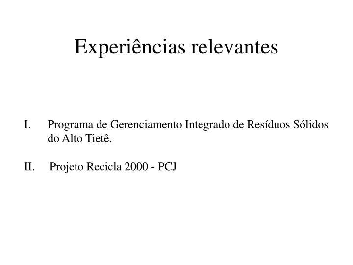 Experiências relevantes