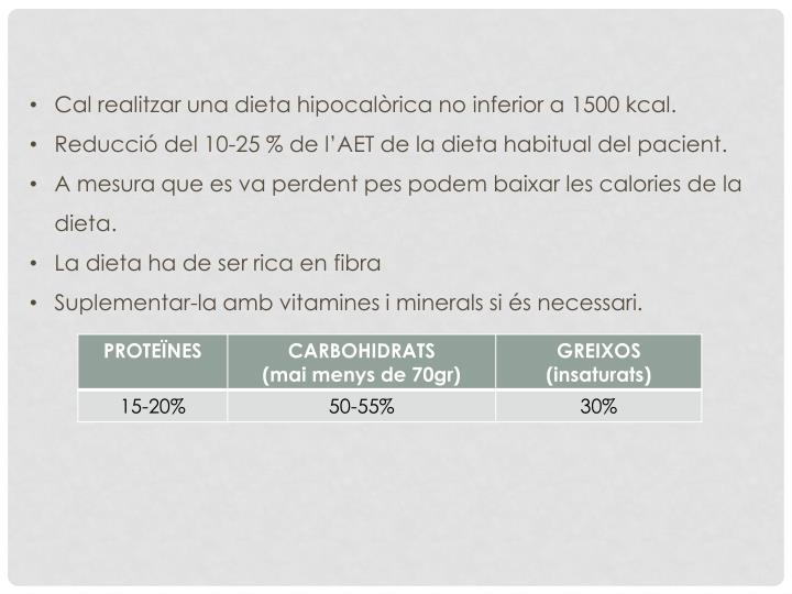 Cal realitzar una dieta hipocalòrica no inferior a 1500 kcal.