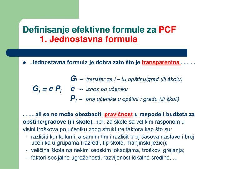 Definisanje efektivne formule za