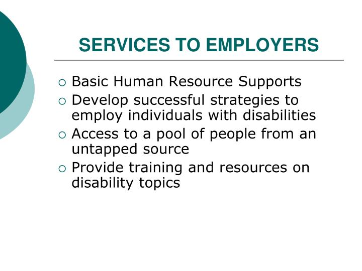 SERVICES TO EMPLOYERS