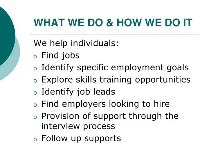 WHAT WE DO & HOW WE DO IT