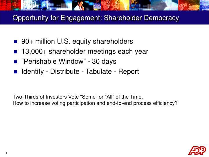 Opportunity for Engagement: Shareholder Democracy
