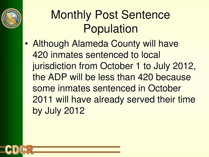 Monthly Post Sentence Population