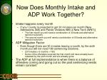 now does monthly intake and adp work together