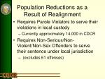 population reductions as a result of realignment