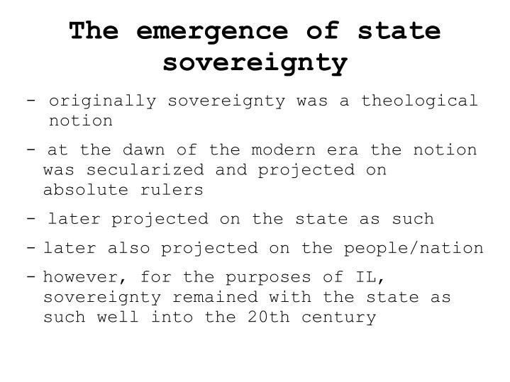 The emergence of state sovereignty