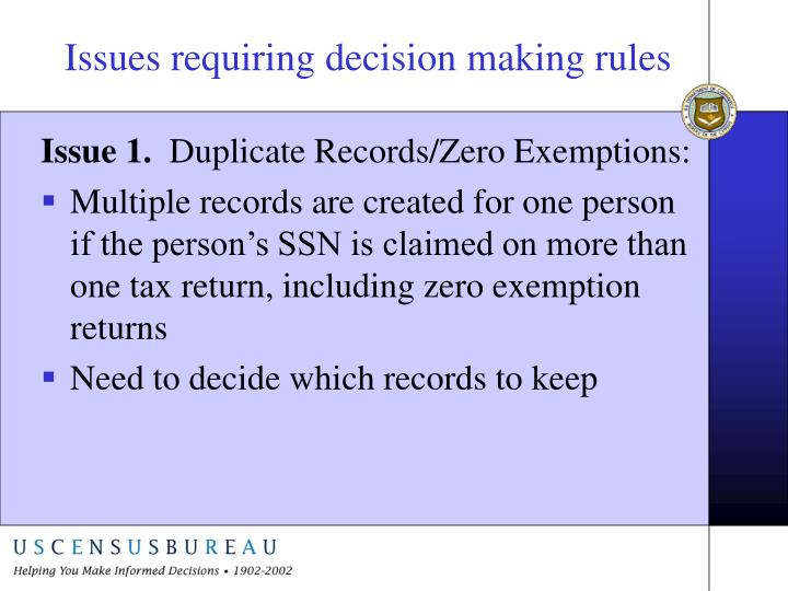 Issues requiring decision making rules