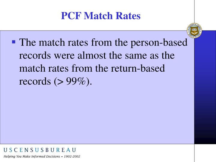 PCF Match Rates