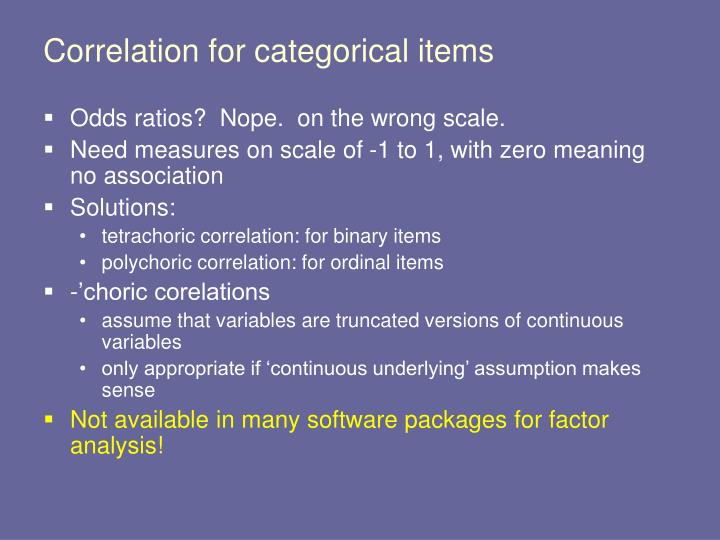 Correlation for categorical items