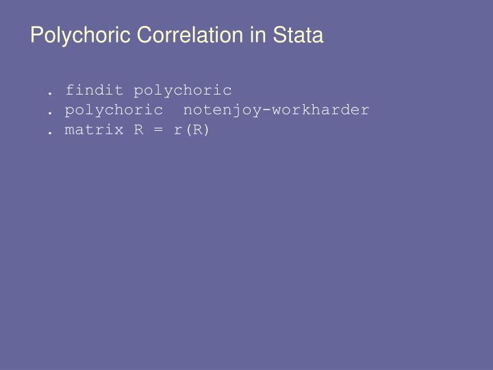 Polychoric Correlation in Stata