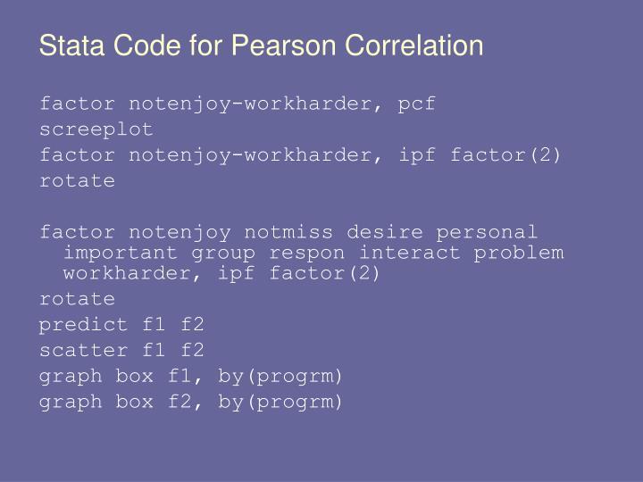 Stata Code for Pearson Correlation