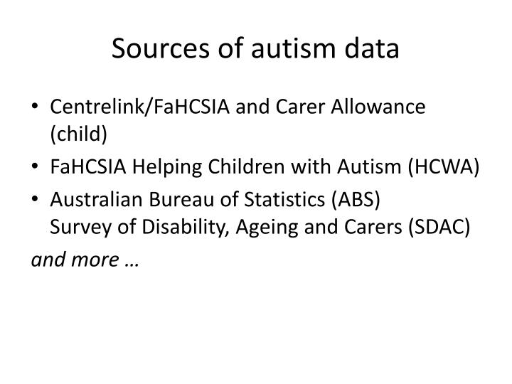 Sources of autism data