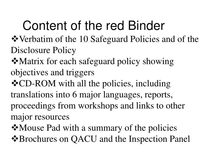 Content of the red Binder