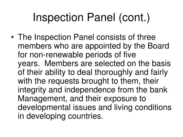 Inspection Panel (cont.)