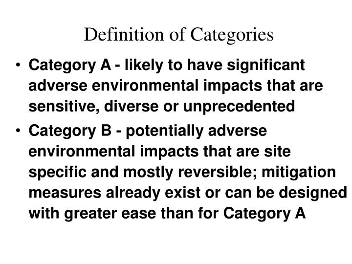 Definition of Categories