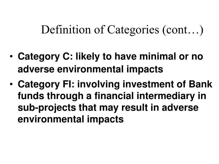 Definition of Categories (cont…)