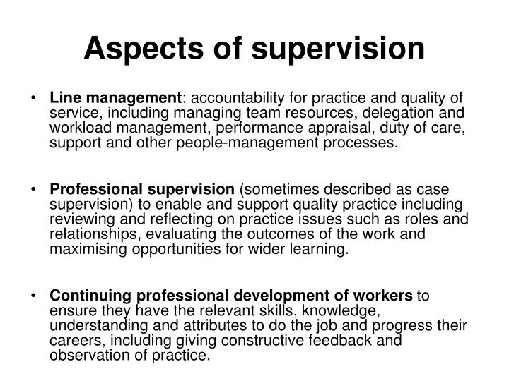 Aspects of supervision