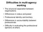 difficulties in multi agency working