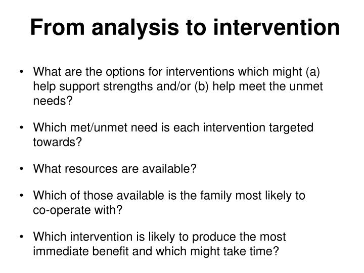 From analysis to intervention