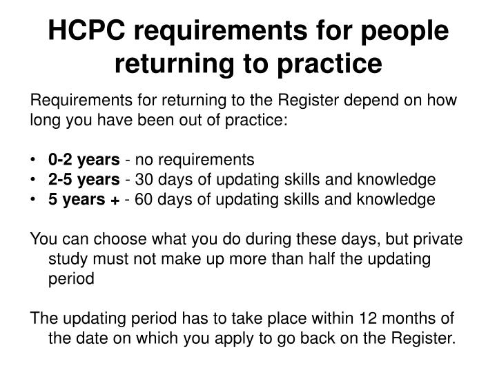 HCPC requirements for people returning to practice