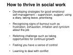 how to thrive in social work