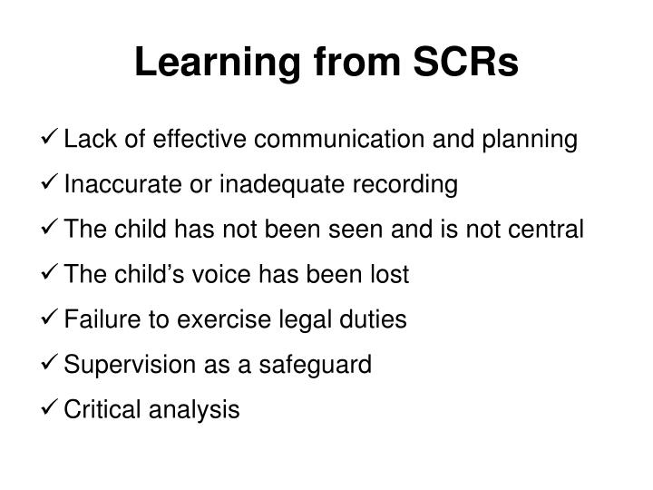 Learning from SCRs