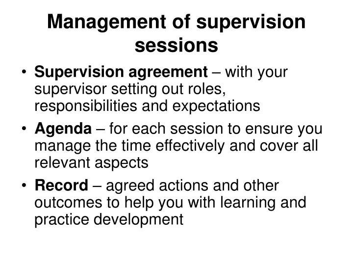 Management of supervision sessions