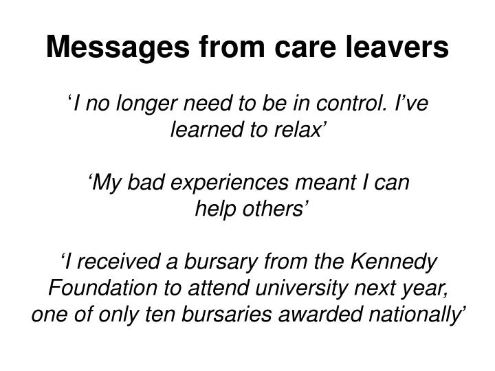 Messages from care leavers