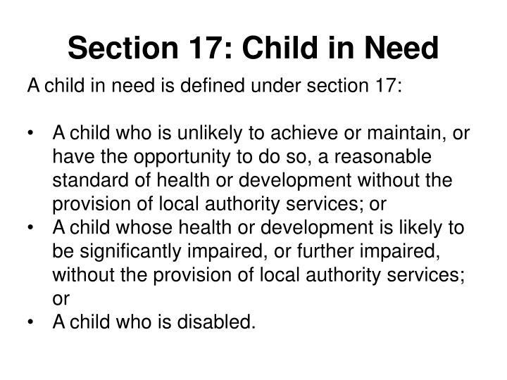 Section 17: Child in Need