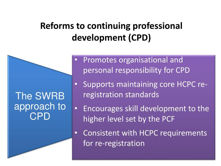 Reforms to continuing professional development (CPD)