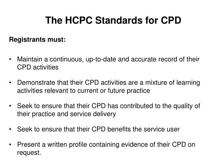 The HCPC Standards for CPD