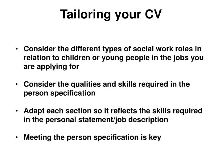Tailoring your CV