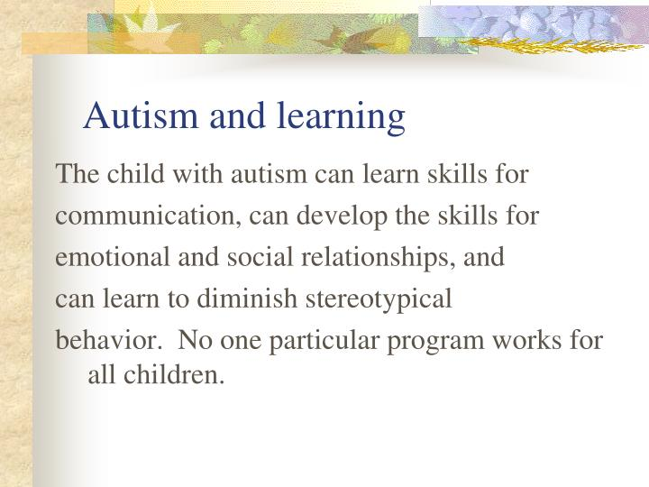 Autism and learning