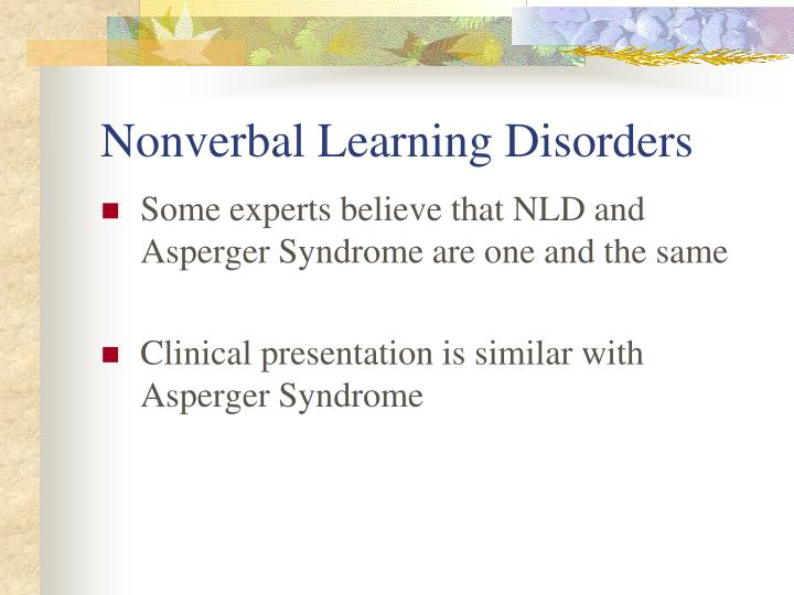 Nonverbal Learning Disorders