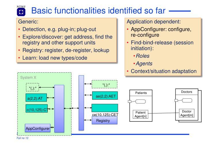 Basic functionalities identified so far