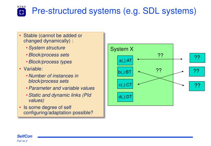 Pre-structured systems (e.g. SDL systems)