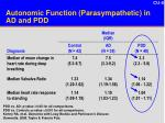 autonomic function parasympathetic in ad and pdd