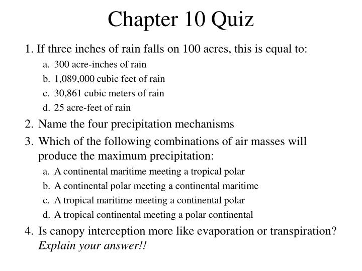 Chapter 10 Quiz