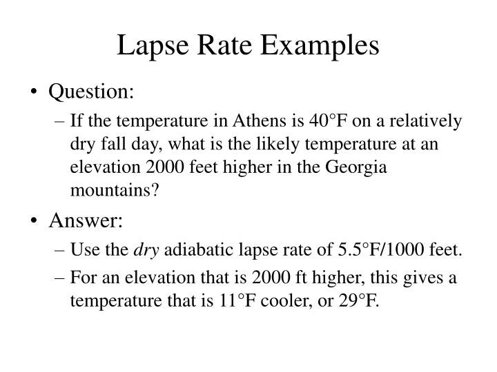 Lapse Rate Examples